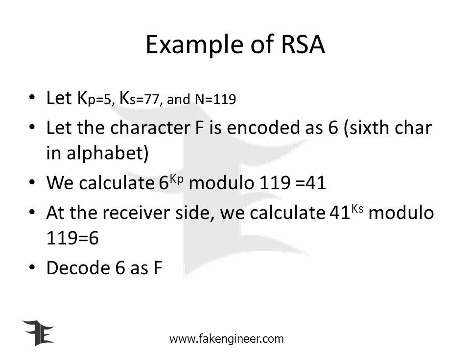 www.fakengineer.com Decryption algorithm (RSA) Receive C, the ciphertext Calculate plaintext P=C k s modulo N Decode P to the original data