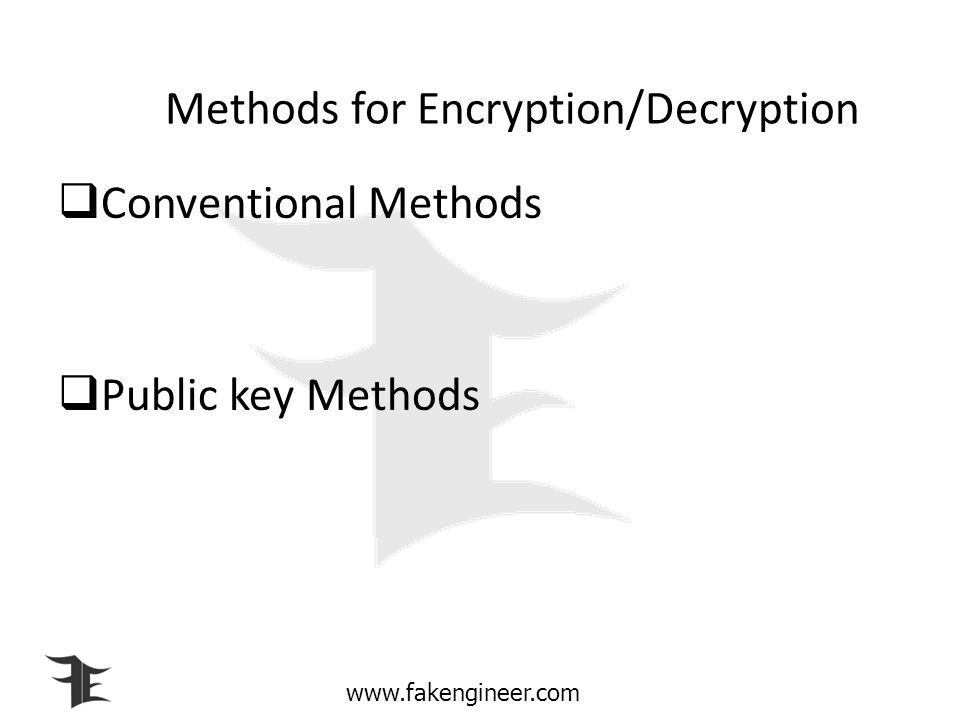 www.fakengineer.com Some terms associated with Cryptography Plaintext Ciphertext Encryption Decryption Key