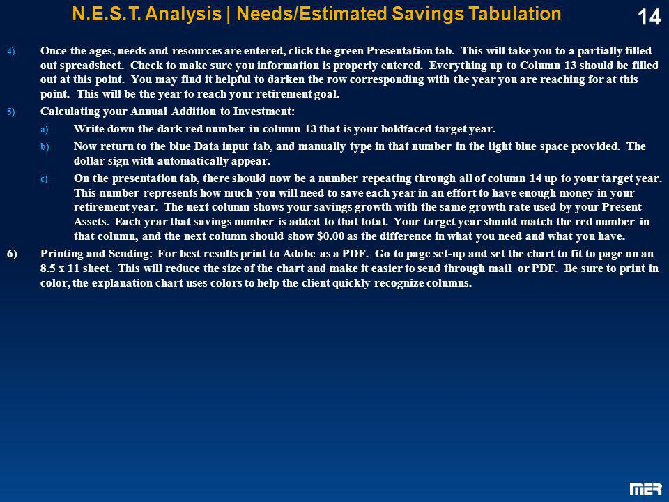 14 N.E.S.T. Analysis | Needs/Estimated Savings Tabulation 4) Once the ages, needs and resources are entered, click the green Presentation tab. This wi