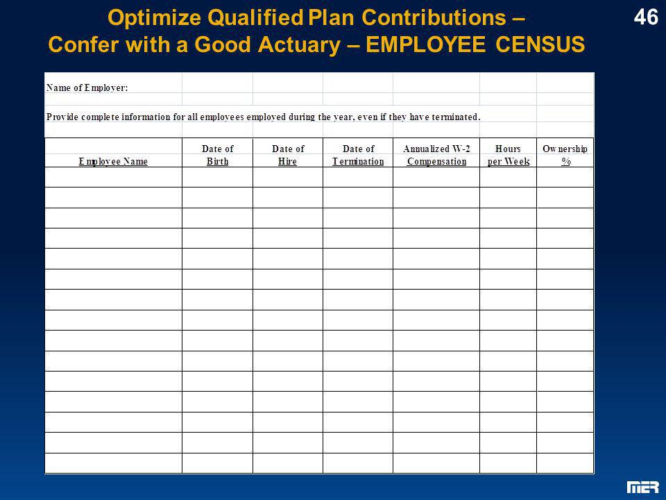 Optimize Qualified Plan Contributions – Confer with a Good Actuary – EMPLOYEE CENSUS 46