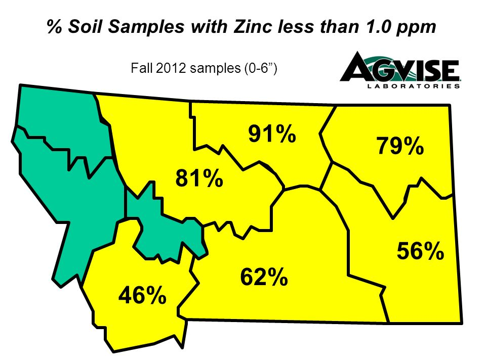 % Soil Samples with Zinc less than 1.0 ppm Fall 2012 samples (0-6) 79% 56% 81% 91% 62% 46%