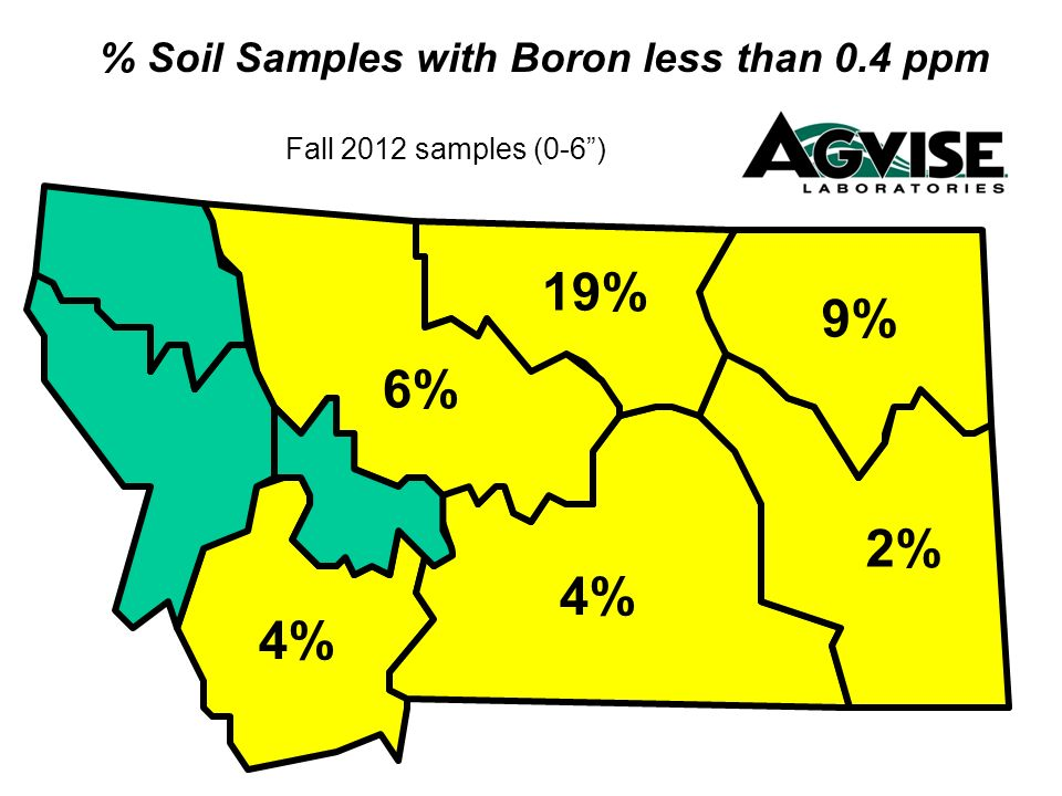 % Soil Samples with Boron less than 0.4 ppm Fall 2012 samples (0-6) 9% 2% 6% 19% 4%