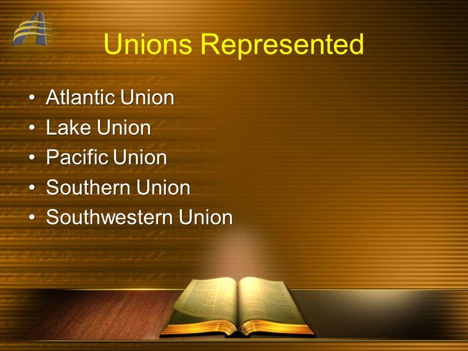 Unions Represented Atlantic UnionAtlantic Union Lake UnionLake Union Pacific UnionPacific Union Southern UnionSouthern Union Southwestern UnionSouthwestern Union