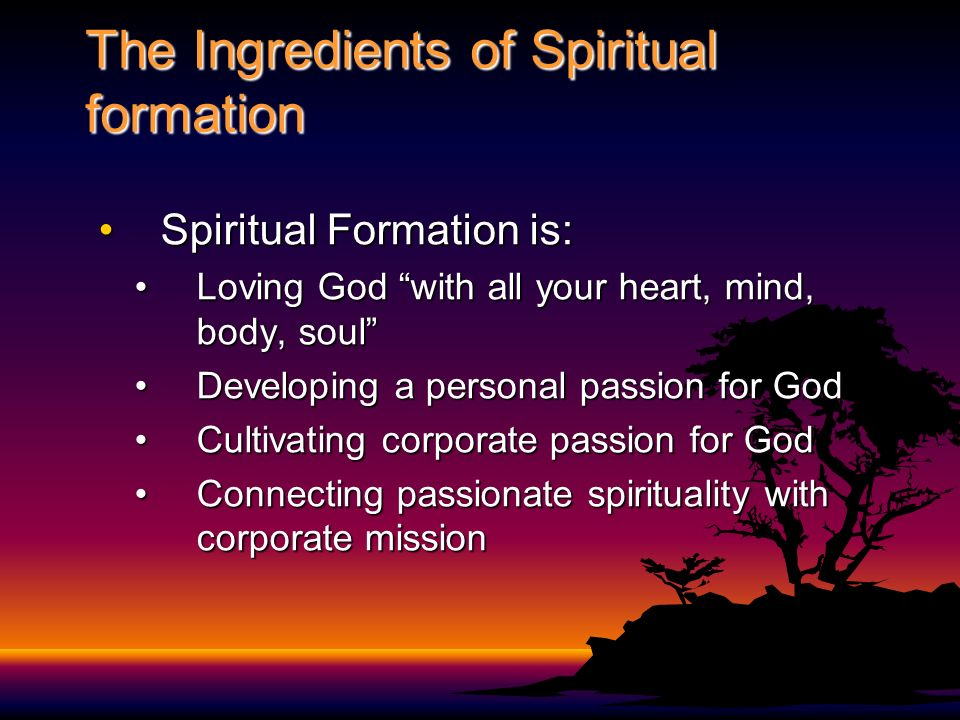 The Ingredients of Spiritual formation Spiritual Formation is:Spiritual Formation is: Loving God with all your heart, mind, body, soulLoving God with