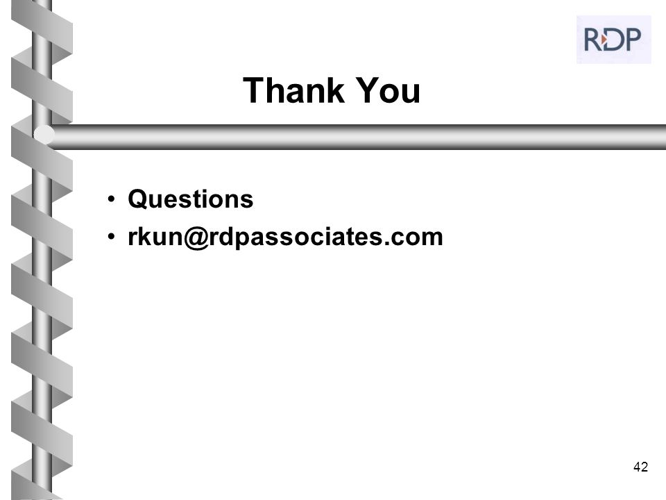 42 Thank You Questions rkun@rdpassociates.com