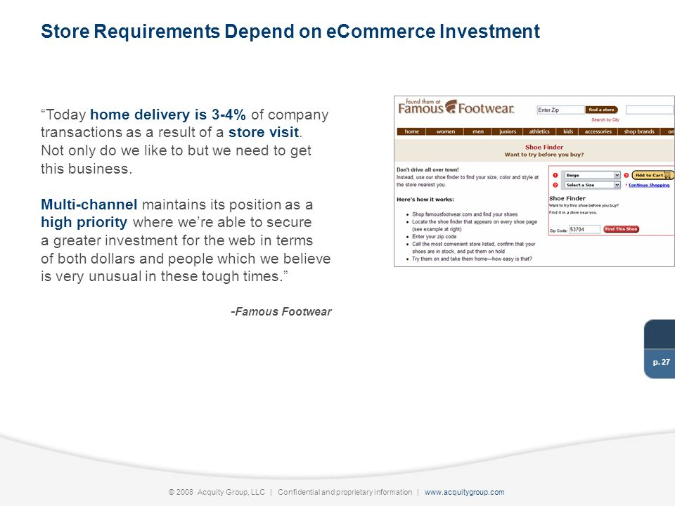 p. 27 © 2008 Acquity Group, LLC | Confidential and proprietary information | www.acquitygroup.com Today home delivery is 3-4% of company transactions
