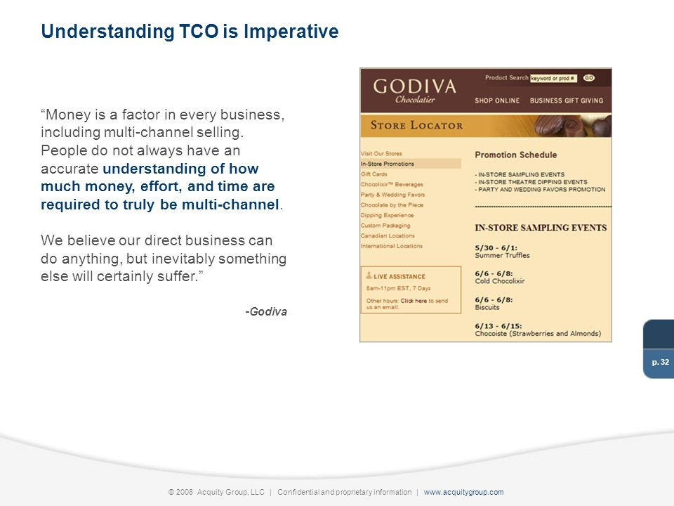 p. 32 © 2008 Acquity Group, LLC | Confidential and proprietary information | www.acquitygroup.com Money is a factor in every business, including multi