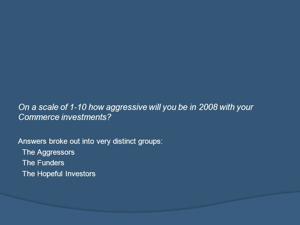 On a scale of 1-10 how aggressive will you be in 2008 with your Commerce investments.