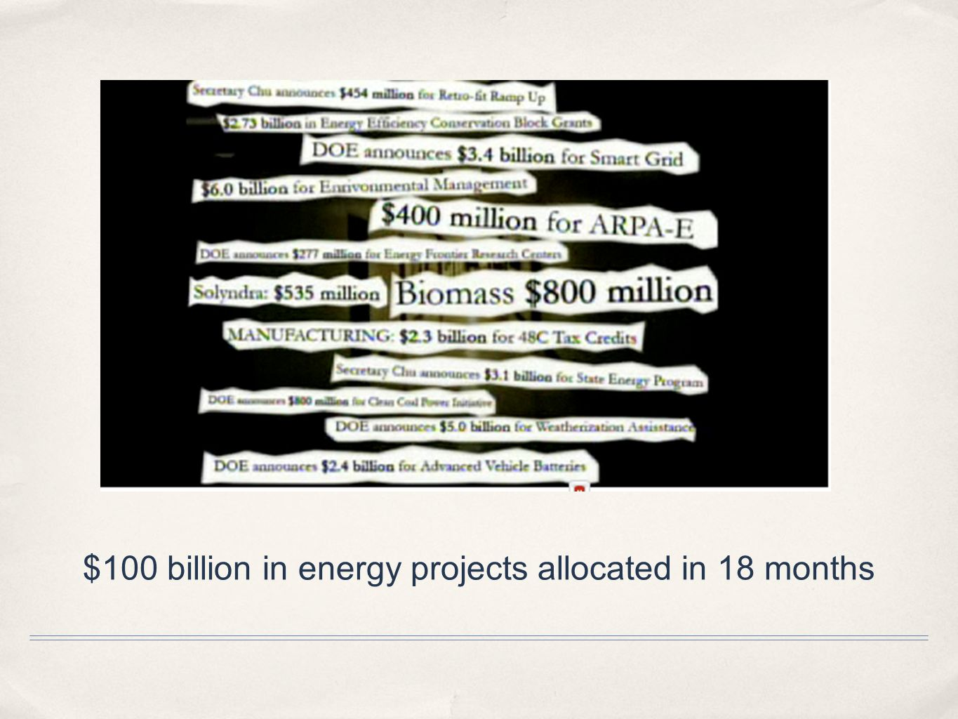 $100 billion in energy projects allocated in 18 months