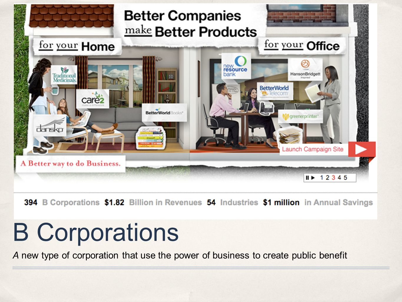 B Corporations A new type of corporation that use the power of business to create public benefit