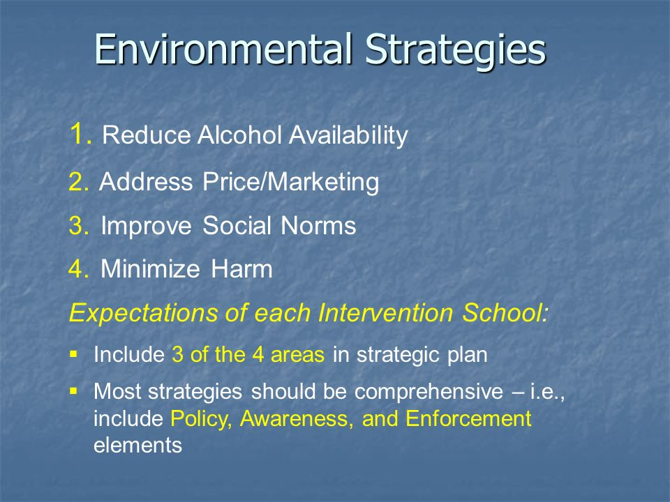 Environmental Strategies 1. Reduce Alcohol Availability 2.