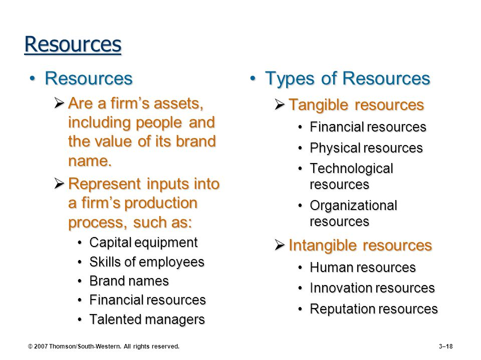 © 2007 Thomson/South-Western. All rights reserved. 3–18 Resources ResourcesResources Are a firms assets, including people and the value of its brand n