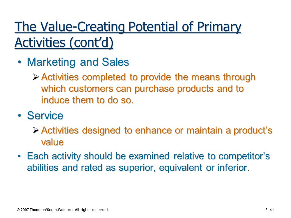 © 2007 Thomson/South-Western. All rights reserved. 3–41 The Value-Creating Potential of Primary Activities (contd) Marketing and SalesMarketing and Sa