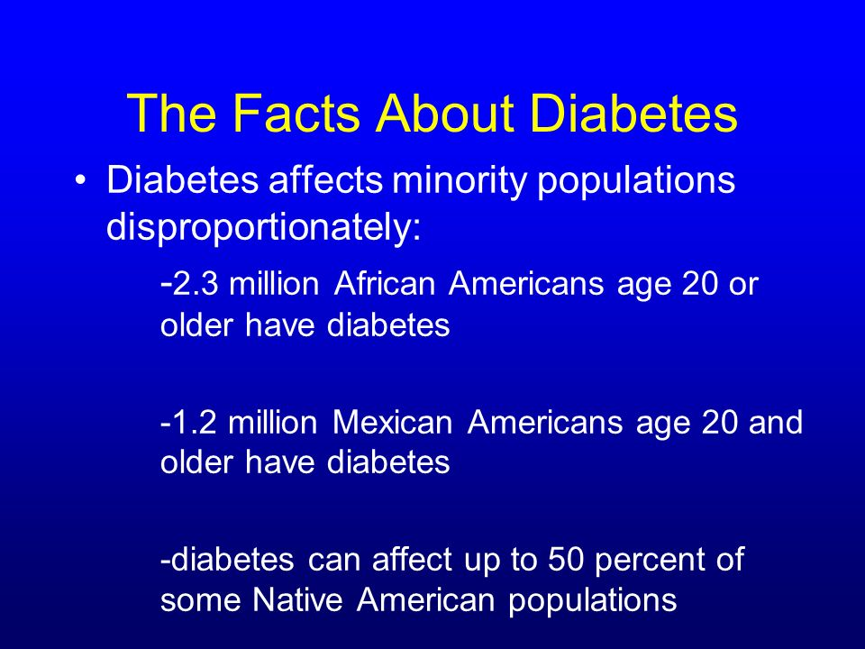 The Facts About Diabetes Diabetes affects minority populations disproportionately: - 2.3 million African Americans age 20 or older have diabetes -1.2