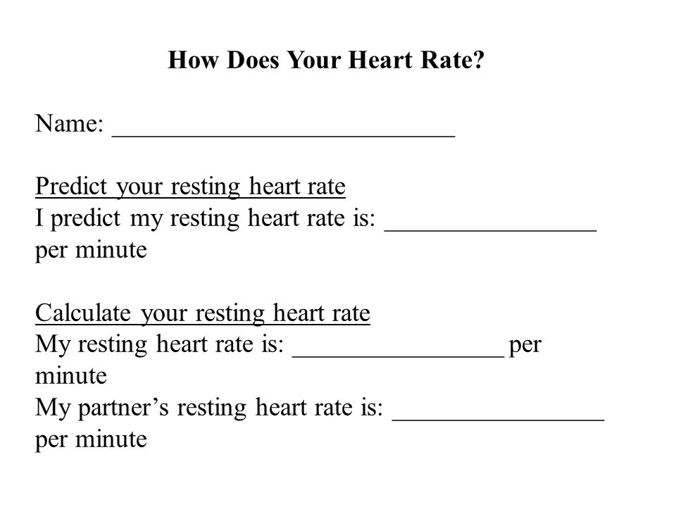 How Does Your Heart Rate? Name: __________________________ Predict your resting heart rate I predict my resting heart rate is: ________________ per mi