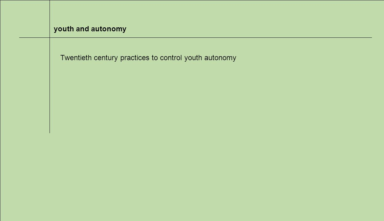 youth and autonomy Twentieth century practices to control youth autonomy