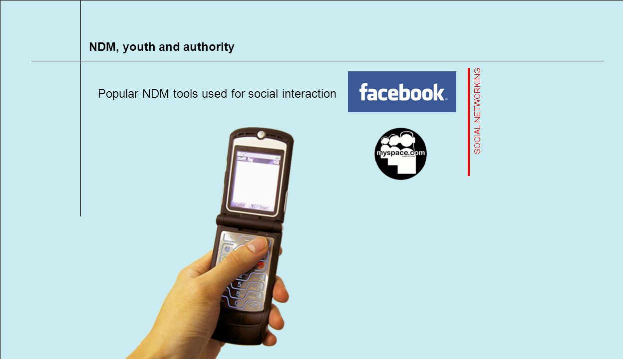 NDM, youth and authority Popular NDM tools used for social interaction SOCIAL NETWORKING