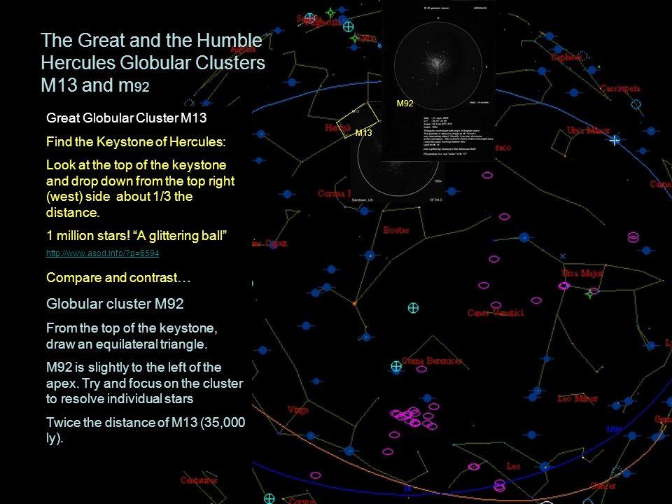 The Great and the Humble Hercules Globular Clusters M13 and m 92 Great Globular Cluster M13 Find the Keystone of Hercules: Look at the top of the keys