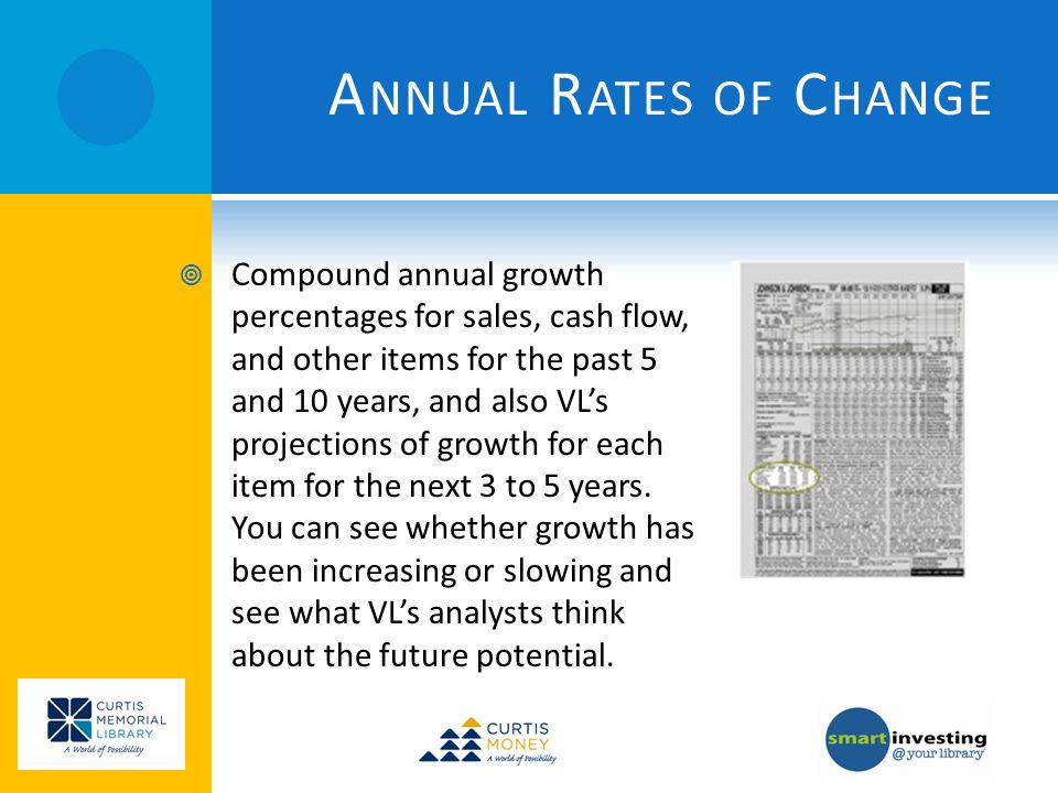 A NNUAL R ATES OF C HANGE Compound annual growth percentages for sales, cash flow, and other items for the past 5 and 10 years, and also VLs projections of growth for each item for the next 3 to 5 years.