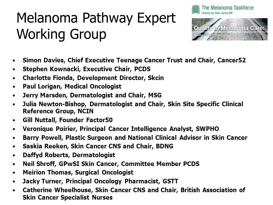 Melanoma Pathway Expert Working Group Simon Davies, Chief Executive Teenage Cancer Trust and Chair, Cancer52 Stephen Kownacki, Executive Chair, PCDS Charlotte Fionda, Development Director, Skcin Paul Lorigan, Medical Oncologist Jerry Marsden, Dermatologist and Chair, MSG Julia Newton-Bishop, Dermatologist and Chair, Skin Site Specific Clinical Reference Group, NCIN Gill Nuttall, Founder Factor50 Veronique Poirier, Principal Cancer Intelligence Analyst, SWPHO Barry Powell, Plastic Surgeon and National Clinical Advisor in Skin Cancer Saskia Reeken, Skin Cancer CNS and Chair, BDNG Daffyd Roberts, Dermatologist Neil Shroff, GPwSI Skin Cancer, Committee Member PCDS Meirion Thomas, Surgical Oncologist Jacky Turner, Principal Oncology Pharmacist, GSTT Catherine Wheelhouse, Skin Cancer CNS and Chair, British Association of Skin Cancer Specialist Nurses