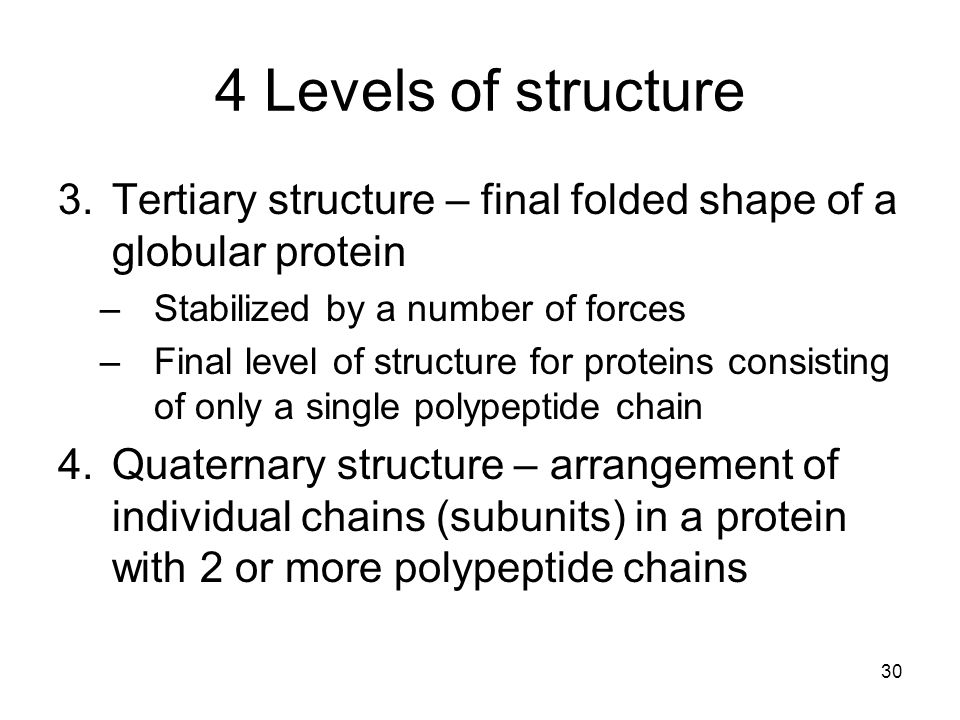 4 Levels of structure 3.Tertiary structure – final folded shape of a globular protein –Stabilized by a number of forces –Final level of structure for