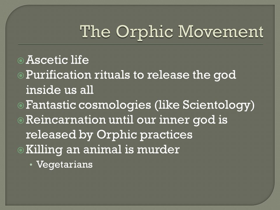 Ascetic life Purification rituals to release the god inside us all Fantastic cosmologies (like Scientology) Reincarnation until our inner god is relea