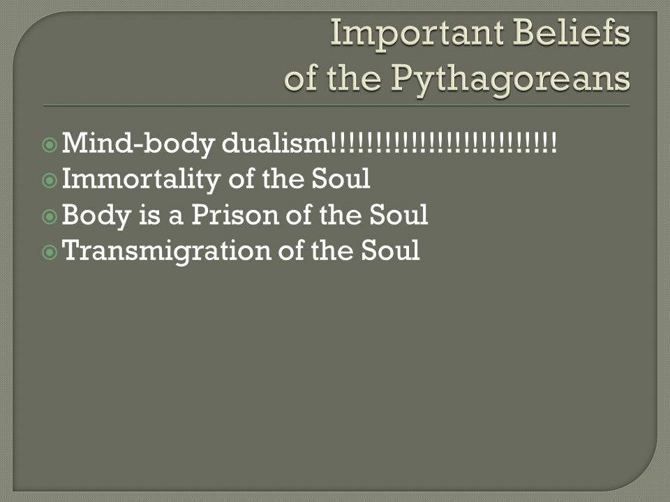 Mind-body dualism!!!!!!!!!!!!!!!!!!!!!!!!!! Immortality of the Soul Body is a Prison of the Soul Transmigration of the Soul