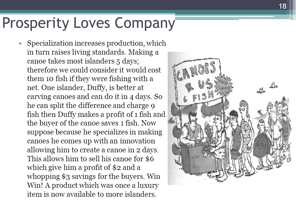 Prosperity Loves Company 18 Specialization increases production, which in turn raises living standards. Making a canoe takes most islanders 5 days; th