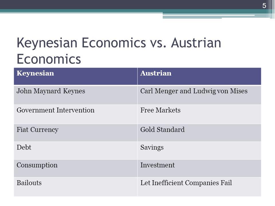 Keynesian Economics vs. Austrian Economics KeynesianAustrian John Maynard KeynesCarl Menger and Ludwig von Mises Government InterventionFree Markets F