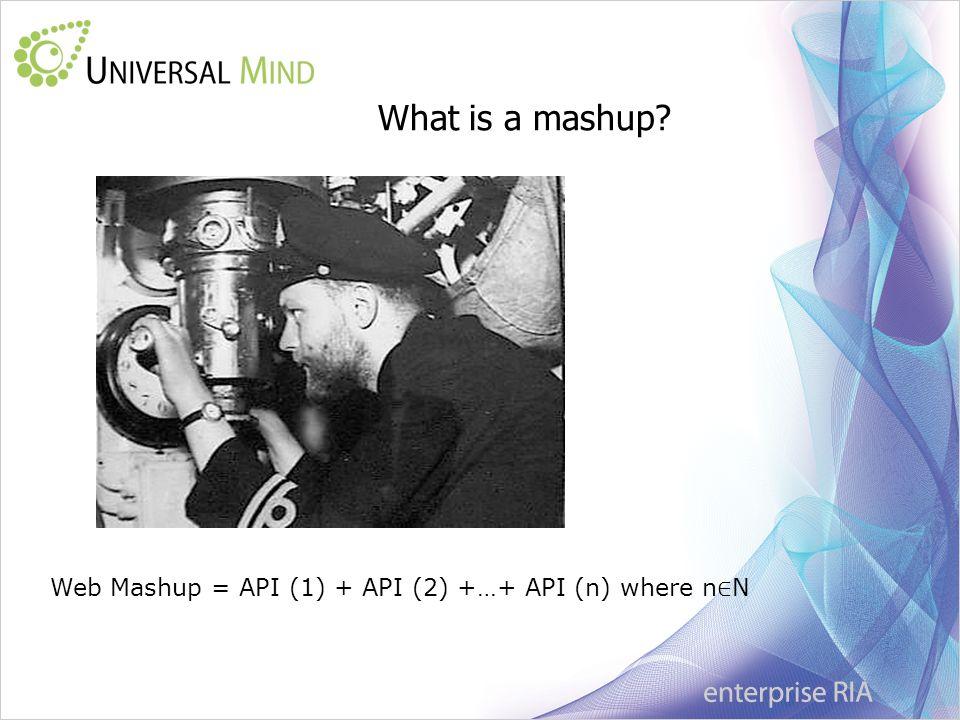 What is a mashup Web Mashup = API (1) + API (2) +…+ API (n) where n N