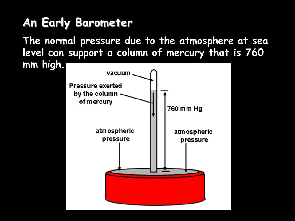 An Early Barometer The normal pressure due to the atmosphere at sea level can support a column of mercury that is 760 mm high.