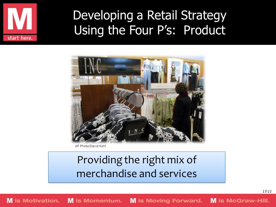 Developing a Retail Strategy Using the Four Ps: Product Providing the right mix of merchandise and services Providing the right mix of merchandise and