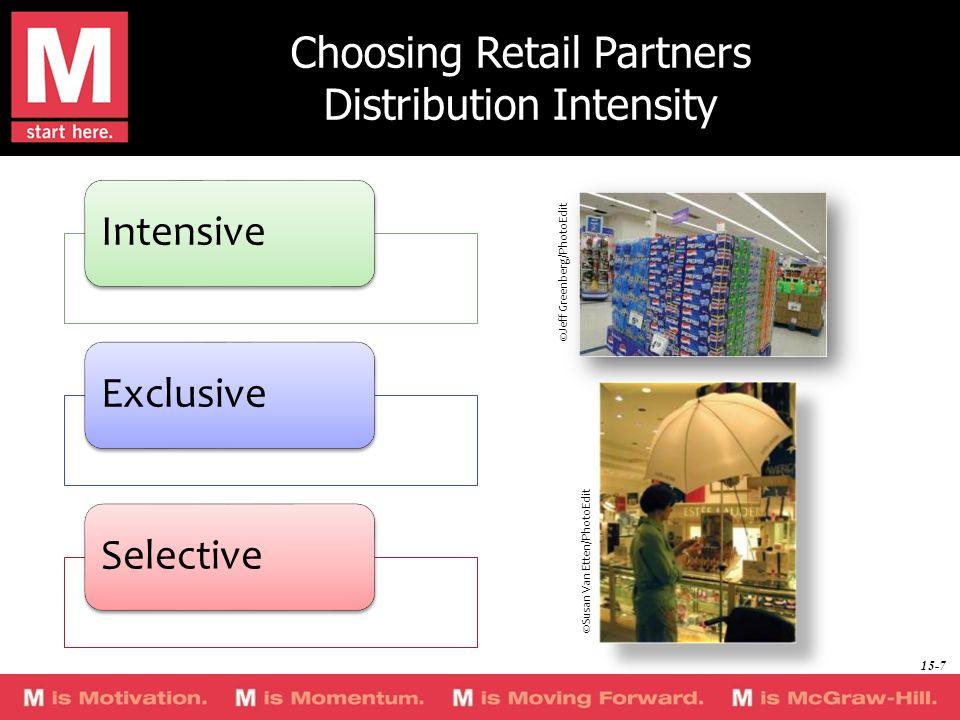 Choosing Retail Partners Distribution Intensity IntensiveExclusiveSelective ©Jeff Greenberg/PhotoEdit ©Susan Van Etten/PhotoEdit 15-7
