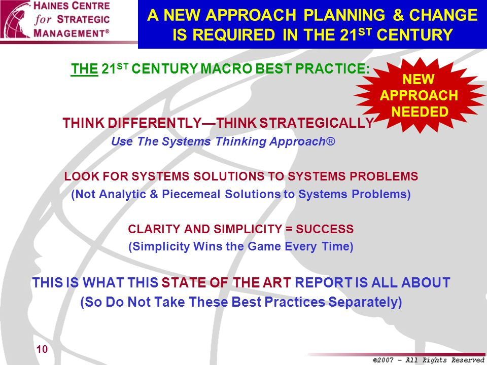 10 A NEW APPROACH PLANNING & CHANGE IS REQUIRED IN THE 21 ST CENTURY THINK DIFFERENTLYTHINK STRATEGICALLY Use The Systems Thinking Approach® LOOK FOR