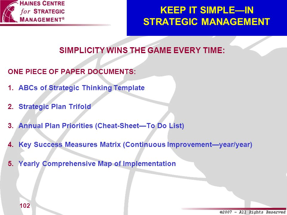 102 KEEP IT SIMPLEIN STRATEGIC MANAGEMENT SIMPLICITY WINS THE GAME EVERY TIME: ONE PIECE OF PAPER DOCUMENTS: ABCs of Strategic Thinking Template Strat
