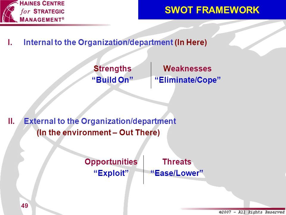 49 SWOT FRAMEWORK Internal to the Organization/department (In Here) Strengths Build On Weaknesses Eliminate/Cope External to the Organization/departme