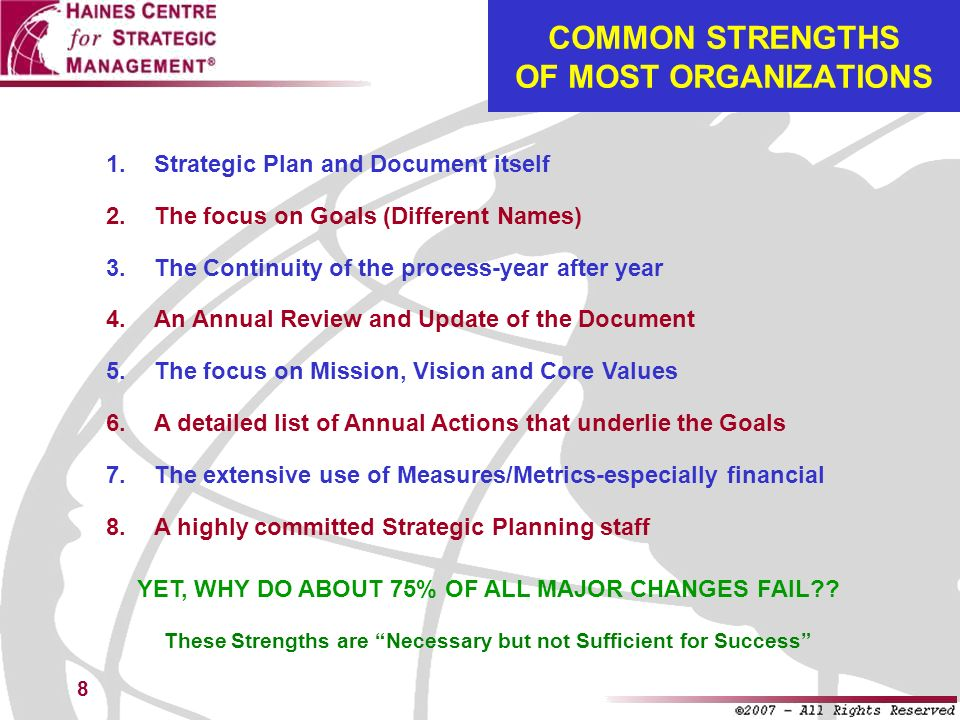 39 THE ABCs OF STRATEGIC CHANGE MANAGEMENT STRATEGIC PLANNING HAS BEEN REINVENTED: IT IS NOW STRATEGIC CHANGE MANAGEMENTFOUR COMPONENTS: Planning 2.