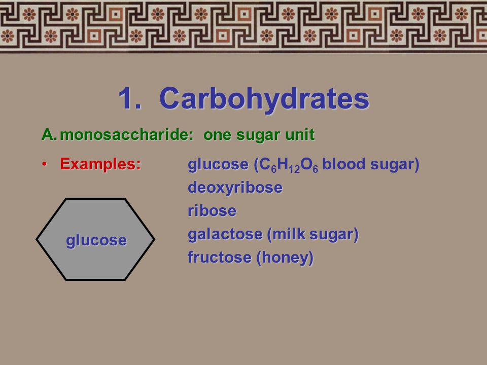 1. Carbohydrates Small sugar moleculeslarge sugar moleculesSmall sugar molecules to large sugar molecules. Examples:Examples: A.monosaccharide B.disac