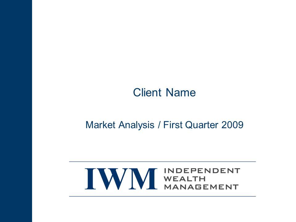 1Q 09 2 Losses Continued in the First Quarter of 2009 Concerns about the damage to the financial system, mounting job losses, and sharp declines in corporate earnings sent stocks to new lows by the second week in March Stocks have rallied since, but still finished the first quarter with double-digit losses (though a continued rally has brought them close to breakeven for the year by mid April) High-yield bonds had the best quarter of the asset classes we follow, while REITs had the worst Market Analysis 1Q09