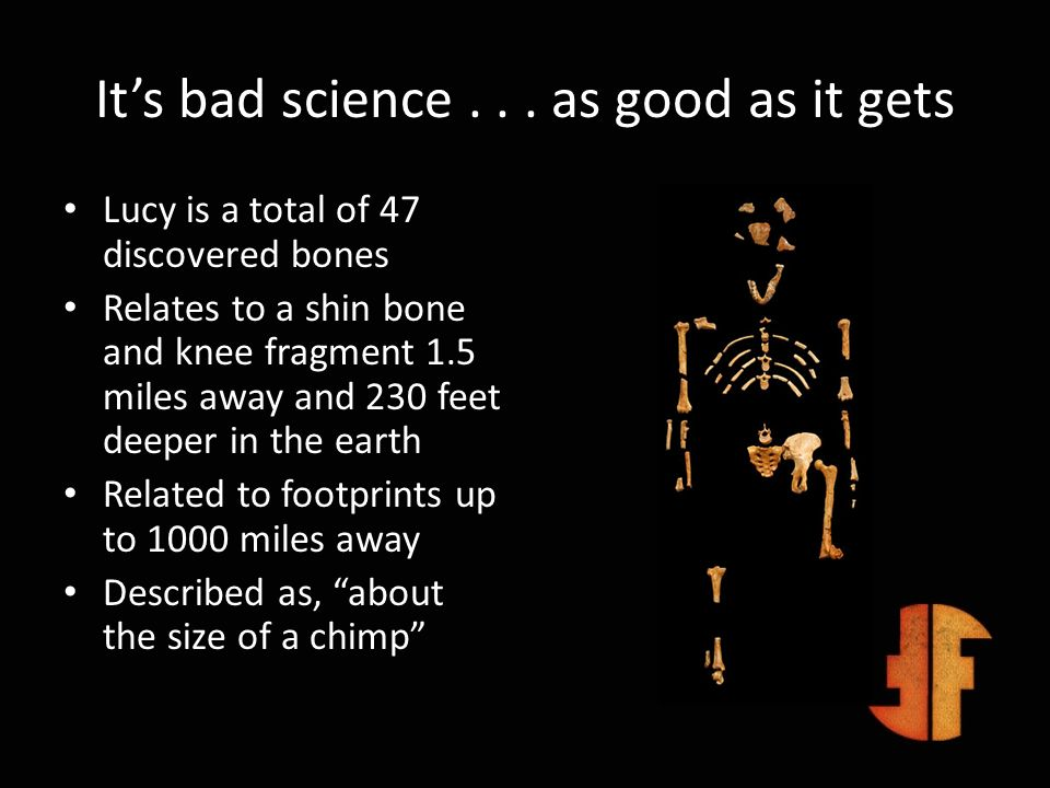 Its bad science... as good as it gets Lucy is a total of 47 discovered bones Relates to a shin bone and knee fragment 1.5 miles away and 230 feet deep