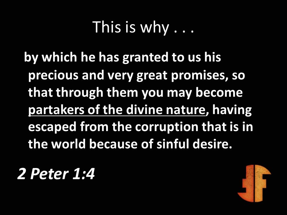 This is why... by which he has granted to us his precious and very great promises, so that through them you may become partakers of the divine nature,