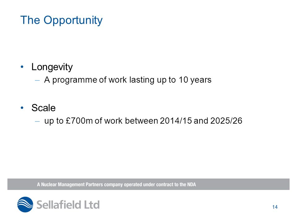 14 The Opportunity Longevity –A programme of work lasting up to 10 years Scale –up to £700m of work between 2014/15 and 2025/26 14