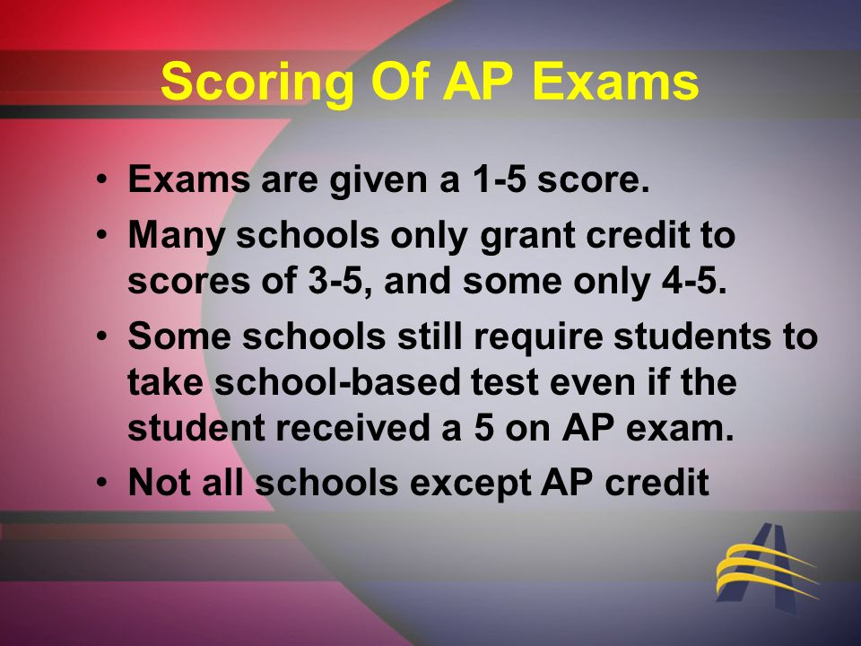 Scoring Of AP Exams Exams are given a 1-5 score.