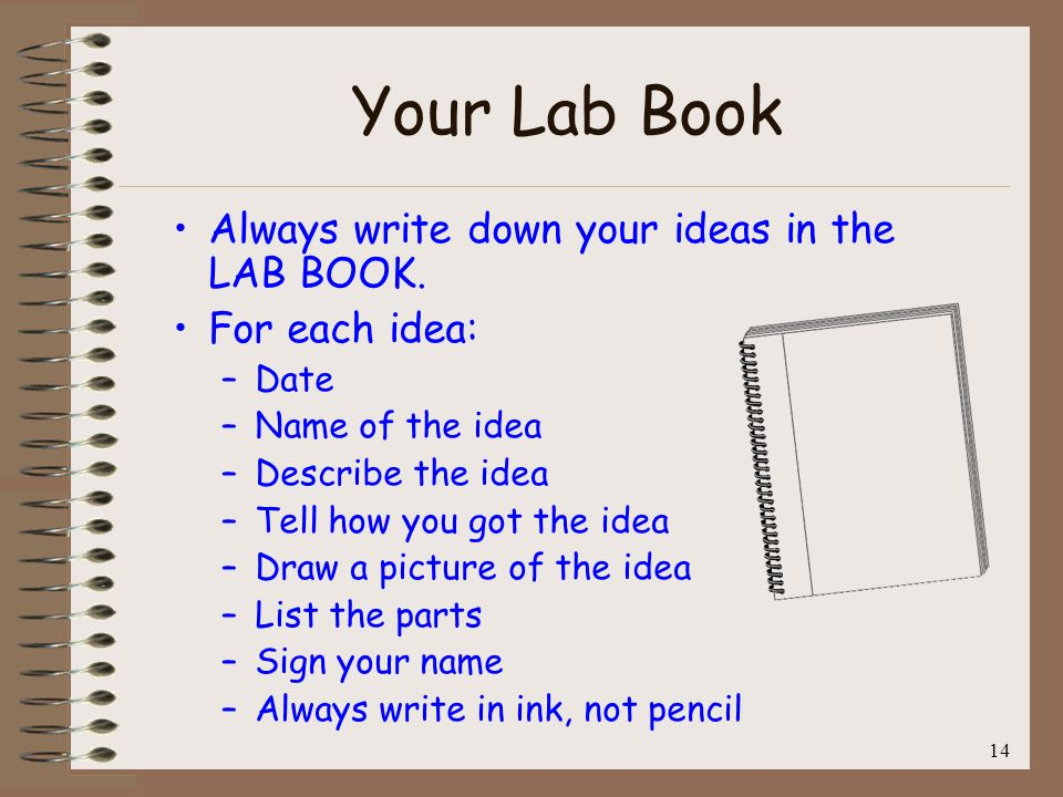 14 Your Lab Book Always write down your ideas in the LAB BOOK. For each idea: –Date –Name of the idea –Describe the idea –Tell how you got the idea –D