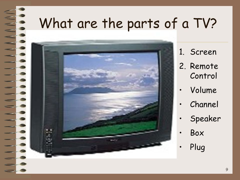 9 1.Screen 2.Remote Control Volume Channel Speaker Box Plug What are the parts of a TV?