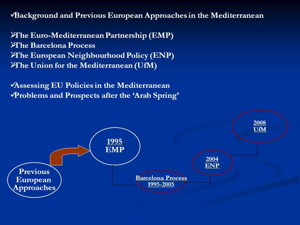 2004 ENP 2008 UfM Previous European Approaches 1995 EMP Barcelona Process 1995-2005 Background and Previous European Approaches in the Mediterranean T