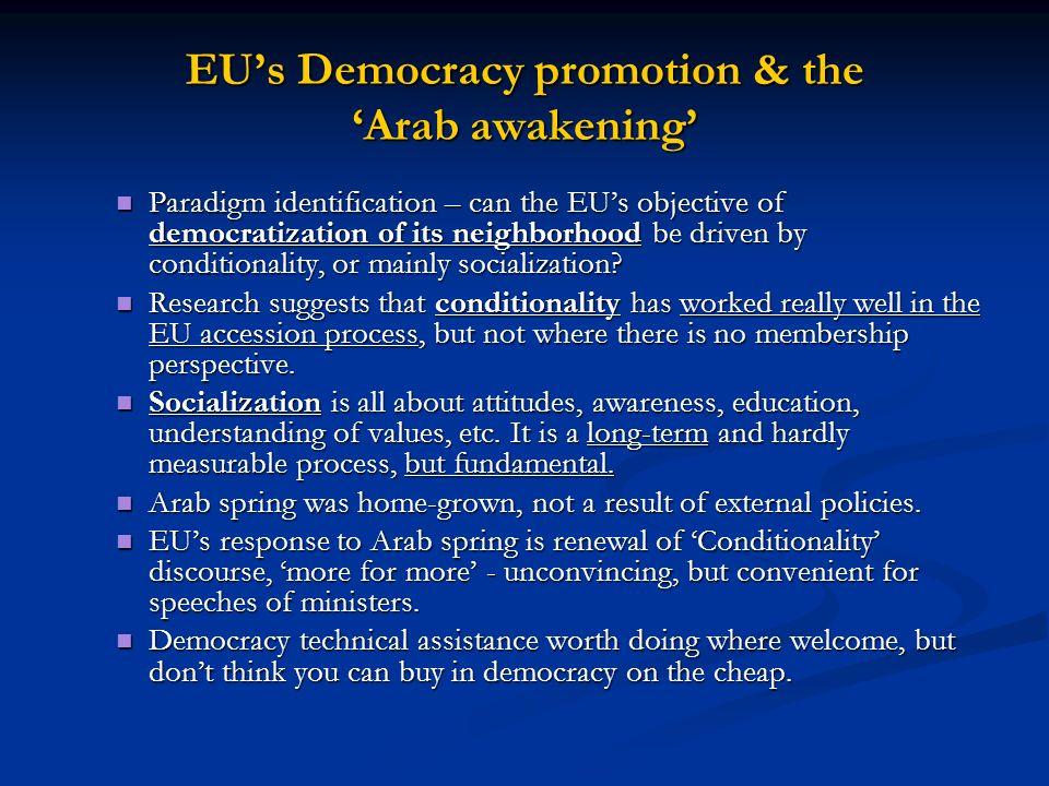 EUs Democracy promotion & the Arab awakening Paradigm identification – can the EUs objective of democratization of its neighborhood be driven by condi