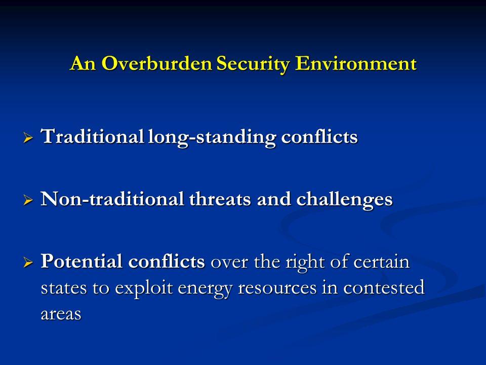 An Overburden Security Environment Traditional long-standing conflicts Traditional long-standing conflicts Non-traditional threats and challenges Non-