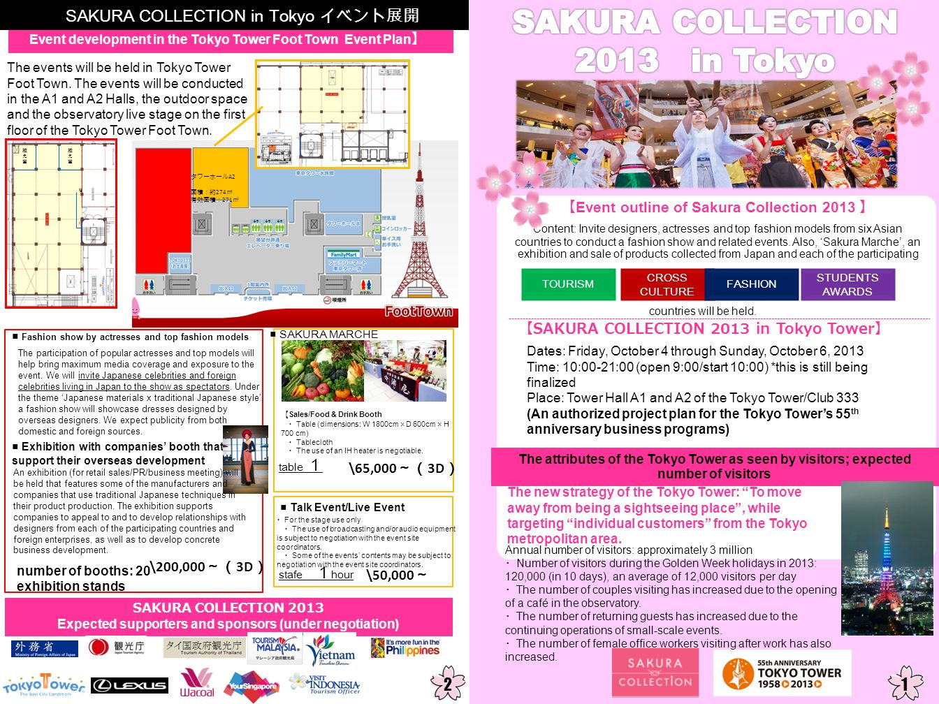 Event outline of Sakura Collection 2013 SAKURA COLLECTION 2013 in Tokyo Tower Dates: Friday, October 4 through Sunday, October 6, 2013 Time: 10:00-21: