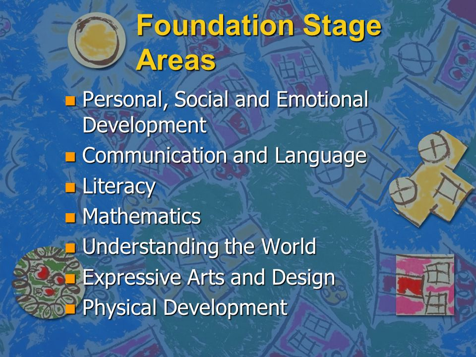Foundation Stage Areas n Personal, Social and Emotional Development n Communication and Language n Literacy n Mathematics n Understanding the World n Expressive Arts and Design n Physical Development
